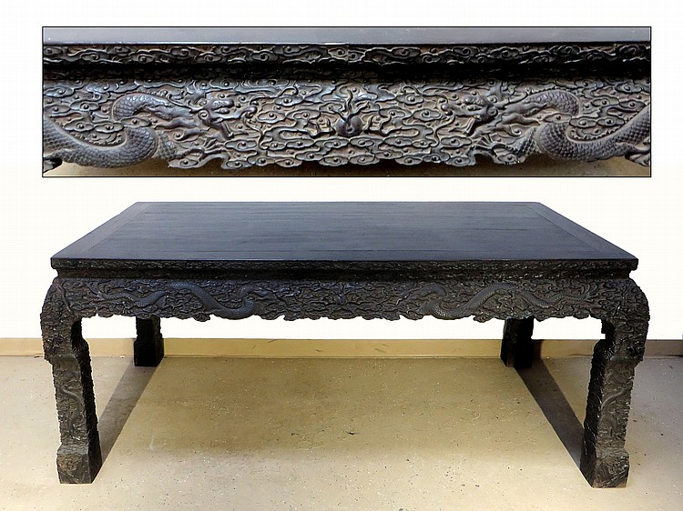 LARGE CHINESE ZITAN SIDE ALTAR TABLE
