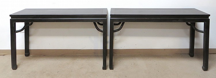 PAIR OF CHINESE ZITAN ALTAR TABLES