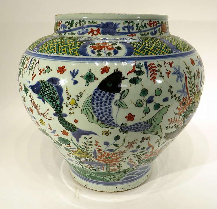 CHINESE WAN LI PORCELAIN FISH JAR