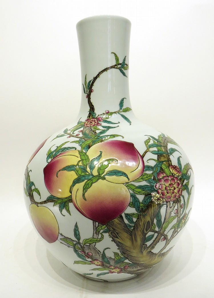 CHINESE NINE PEACHES VASE
