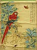 CHINESE PARROT & BUTTERFLY SCROLL BY YU FEI YIN