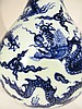 CHINESE BLUE AND WHITE XUAN DE DRAGON VASE