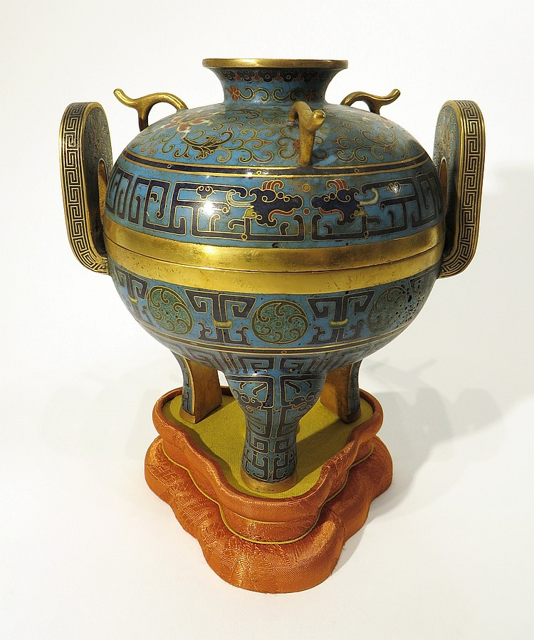 CLOISONNÉ CENSER ON FABRIC STAND