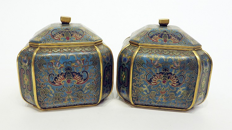 PAIR OF CHINESE CLOISONNE CHESS BOXES