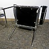 PAIR MODERN BLACK LEATHER & CHROME CHAIRS
