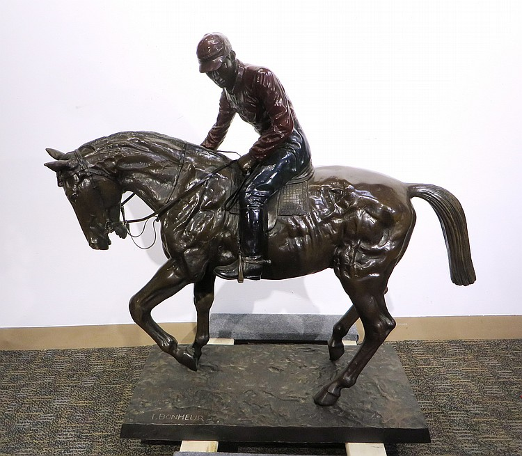 BRONZE HORSE & JOCKEY SIGNED I BONHEUR
