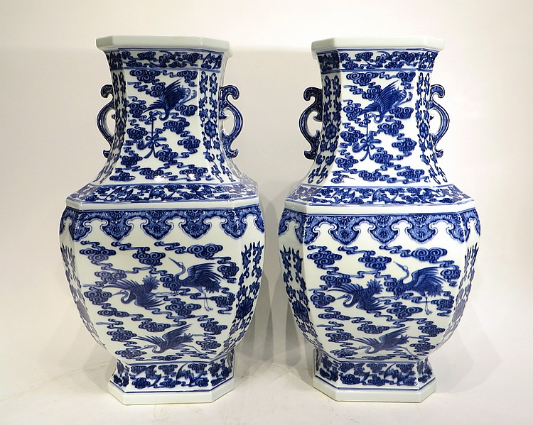 PAIR OF CHINESE QIAN LONG MARKED SUN VASES