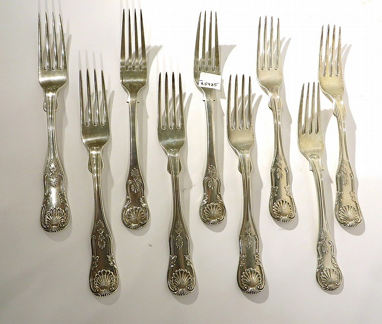 NINE COIN SILVER ANTIQUE DINNER FORKS