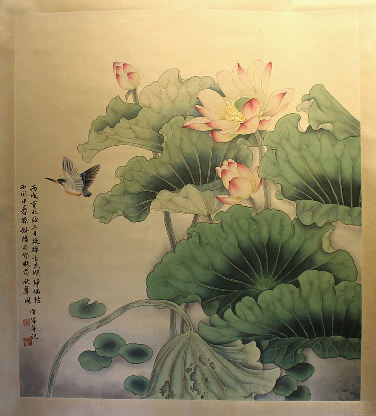 CHINESE SCROLL PAINTING OF LOTUS BLOSSOMS