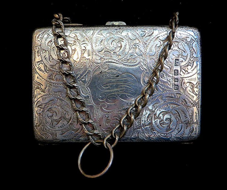 STERLING CALLING CARD CASE WITH CHAIN