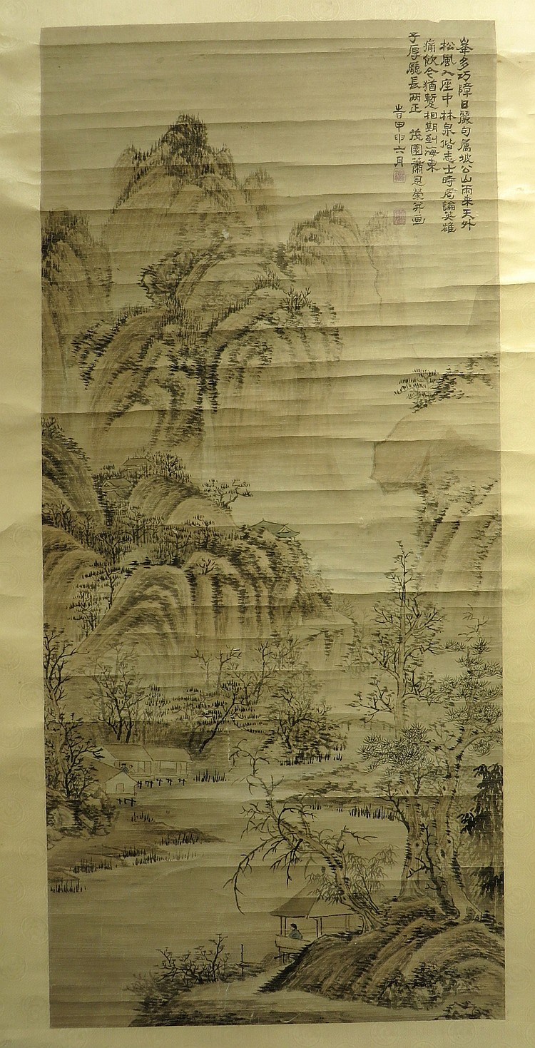 CHINESE SCROLL OF RIVER SCENE SIGNED XIAO ENLONG