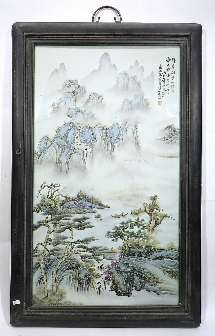 CHINESE 20TH C FAMILLE VERTE PORCELAIN PLAQUE