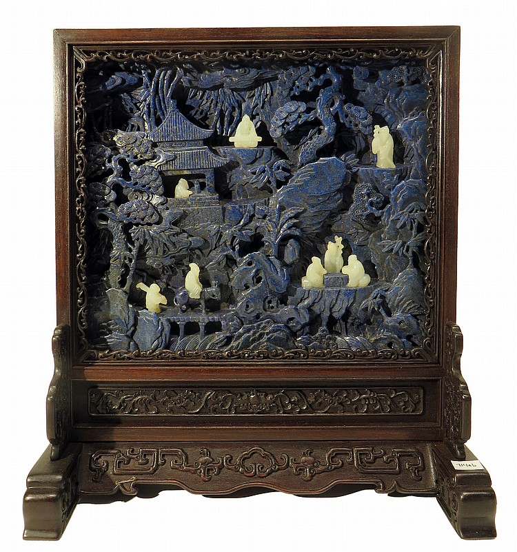 CARVED LAPIS LAZULI AND WHITE JADE TABLE SCREEN