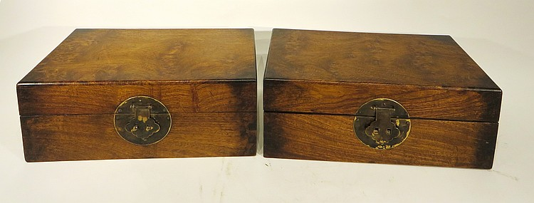 PAIR OF ANTIQUE HUANGHUALI BOXES