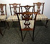 SIX CARVED MAHOGANY CHIPPENDALE STYLE SIDE CHAIRS