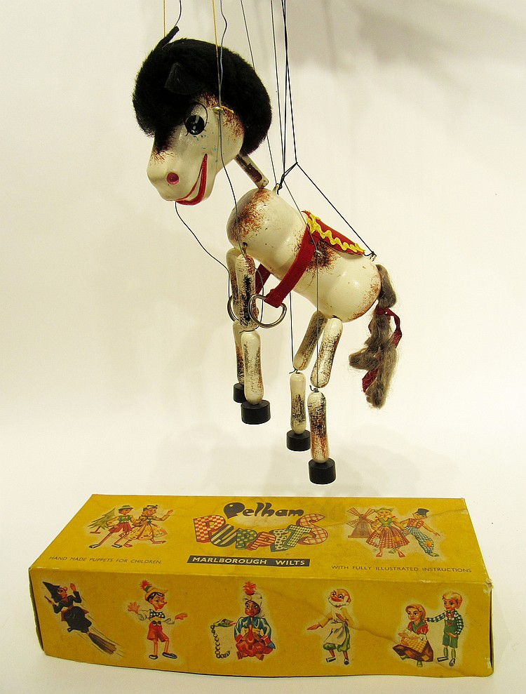 ANTIQUE MARIONETTE HORSE IN ORIGINAL BOX