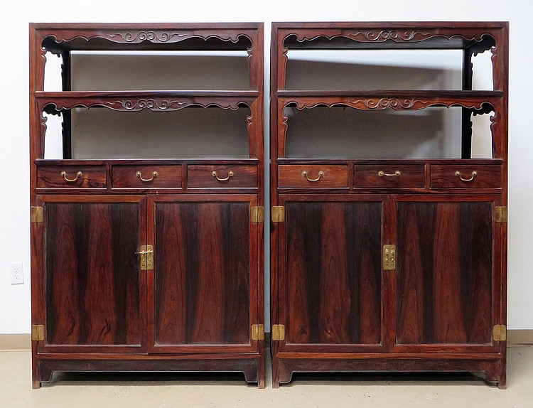PAIR O CHINESE DOUBLE DOOR HUANGHUALI CABINETS