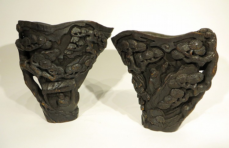 PAIR OF CHINESE CHEN XIANG CUPS