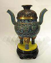 CHINESE CLOISONNE CENSER ON STAND