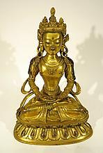 CHINESE QING DYNASTY GILT BRONZE BUDDHA