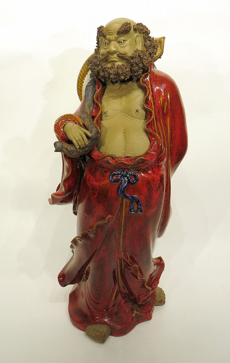 CHINESE TALL CERAMIC IMMORTAL STATUE