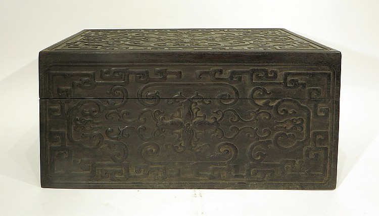 CHINESE CARVED ZITAN JEWELRY BOX