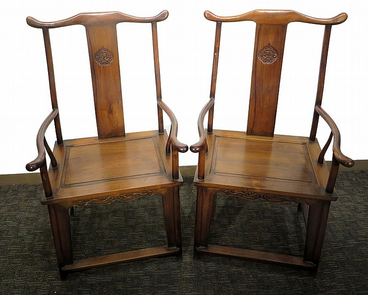 PAIR OF CHINESE HUANGHUALI OFFICER CHAIRS
