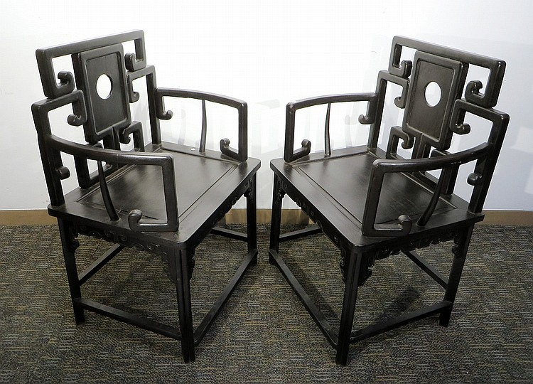 PAIR OF ZITAN ARM CHAIRS