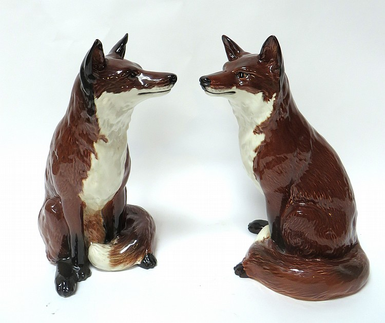 TWO BESWICK CERAMIC FOXES