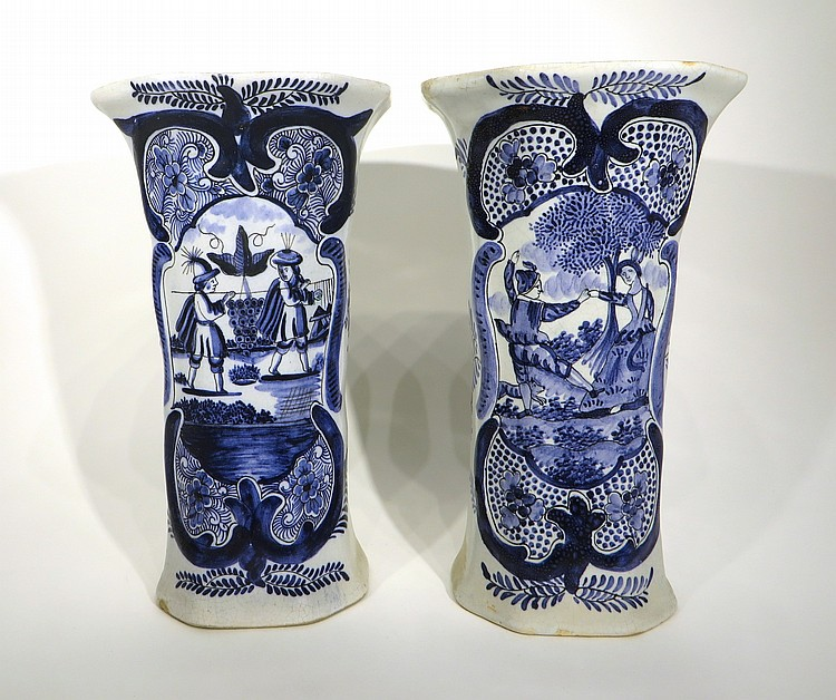 PAIR OF DELFT GARNITURE URNS MARKED RESTORATIONS