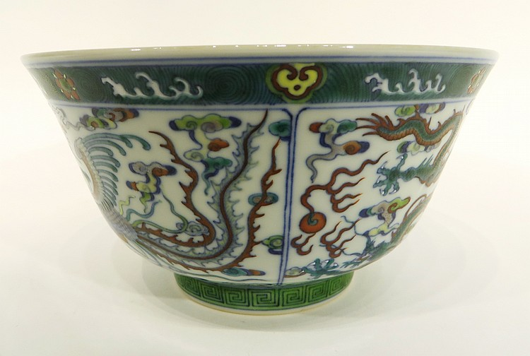 YONG ZHENG MARKED DU CAI FAMILLE VERTE BOWL