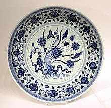 CHINESE MING DYNASTY STYLE BLUE AND WHITE BOWL
