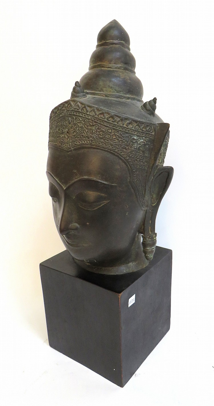 BRONZE THAI BUDDHA HEAD WITH STAND