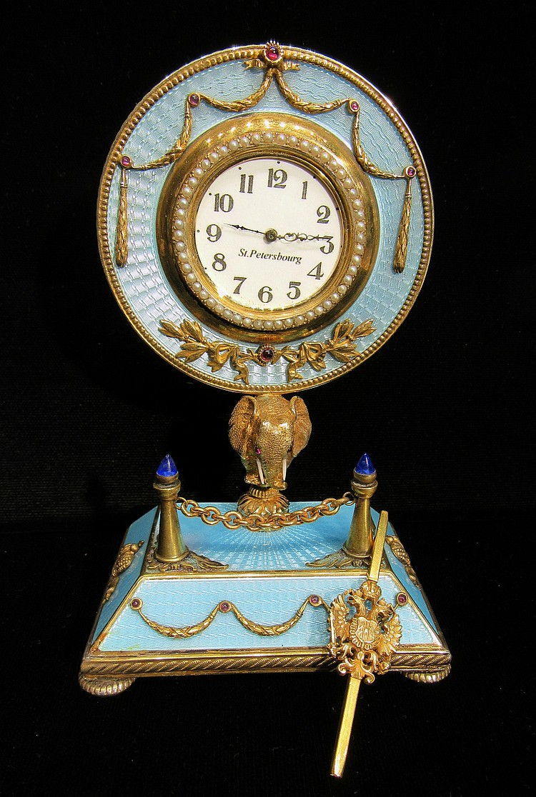 FABERGE GUILLOCHE MARKED ENAMEL DESK WATCH