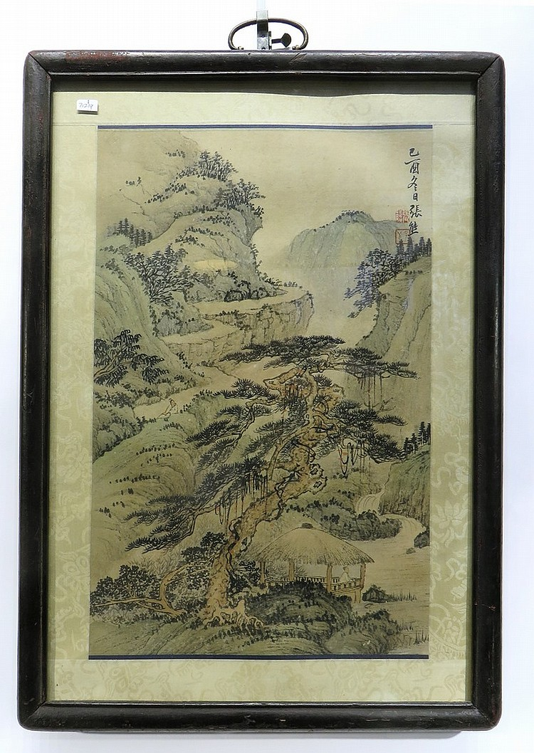 CHINESE FRAMED WATER COLOR LANDSCAPE