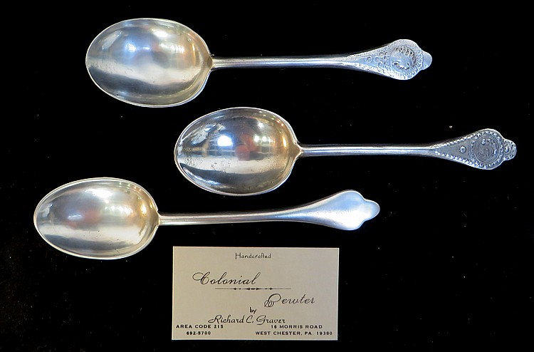 THREE HANDCRAFTED PEWTER SPOONS