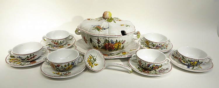 HAND PAINTED MAJOLICA SOUP SERVICE FOR SIX