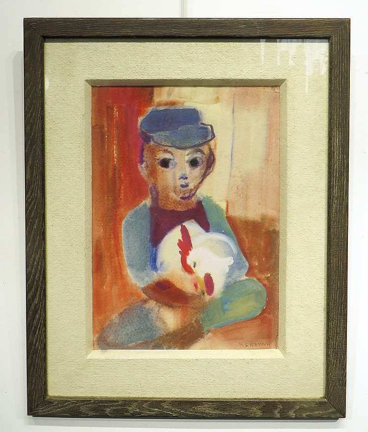 M. LIEBMAN PASTEL OF BOY AND ROOSTER