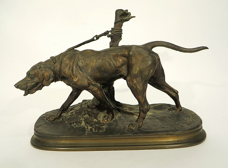 19TH C. BRONZE HUNTING DOG SIGNED P J MENE