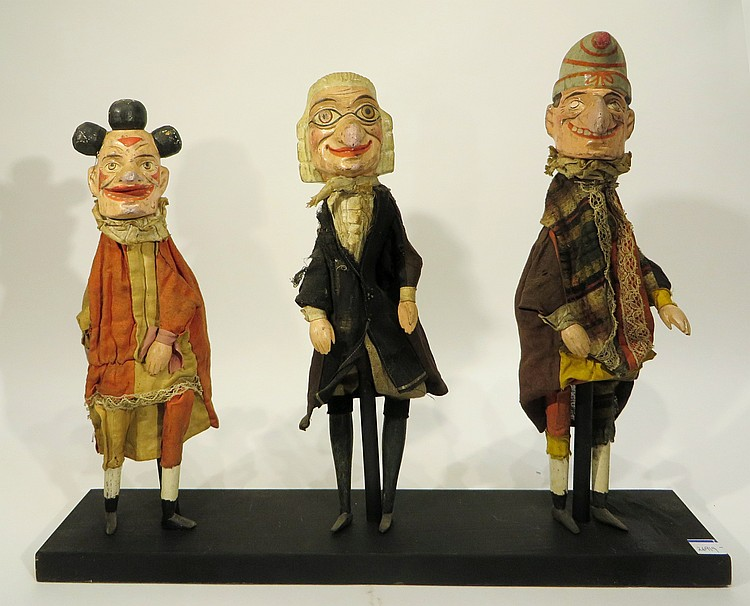 RARE ANTIQUE PUNCH, JUDGE, & CLOWN STICK PUPPETS