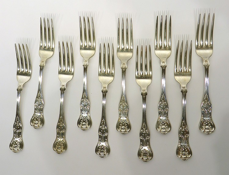 TEN HEAVY STERLING DINNER FORKS