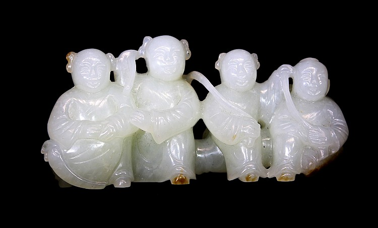 CHINESE WHITE JADE BRUSH HOLDER