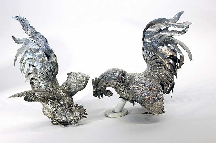PAIR OF CONTINENTAL 19TH C. SILVER FIGHTING COCKS