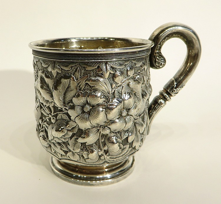 STERLING SILVER REPOSSE CUP