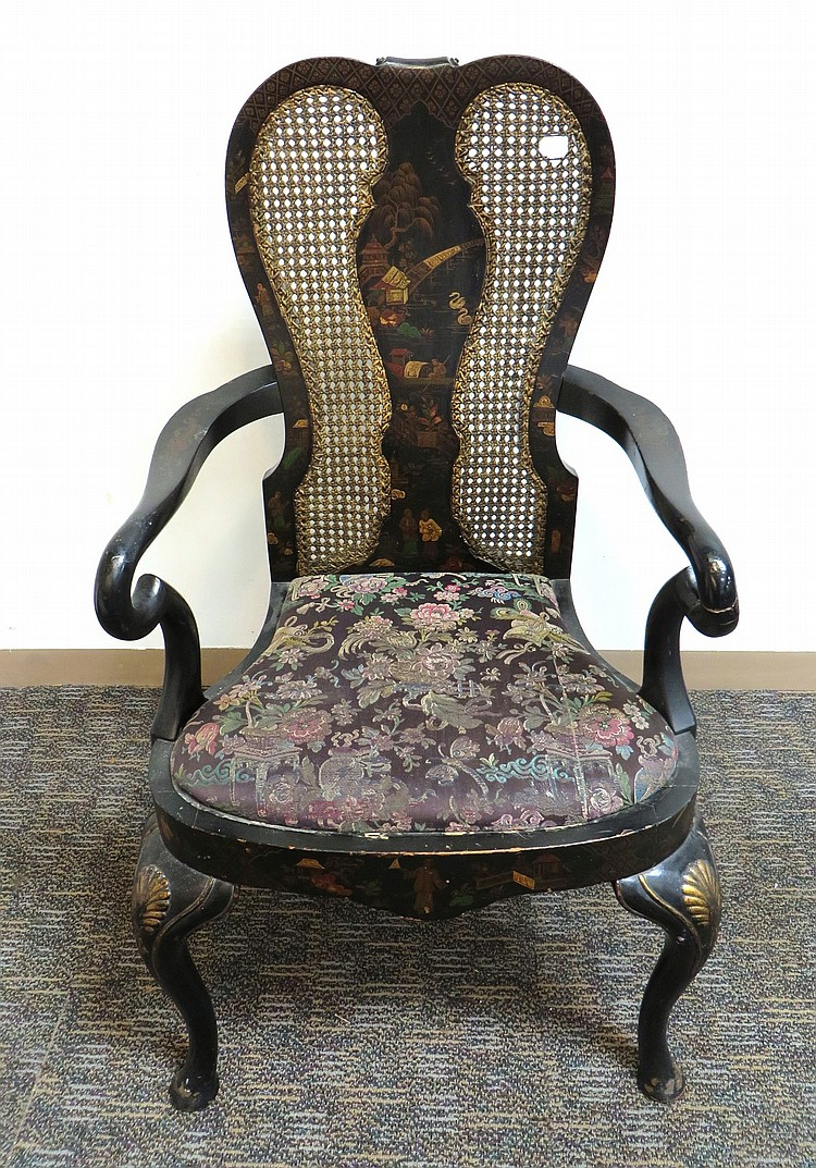 CHINOISERIE QUEEN ANNE STYLE CHAIR