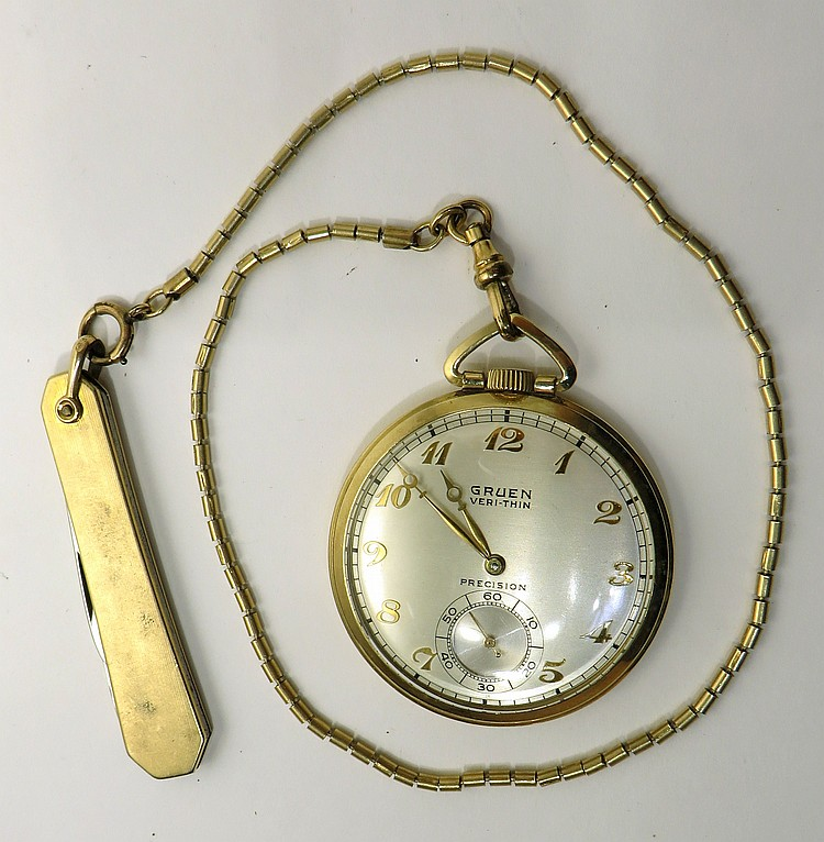 GRUEN GOLD FILLED WATCH WITH CHAIN
