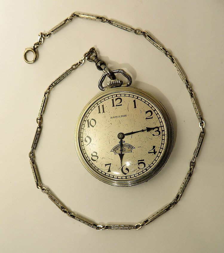 HAMILTON POCKET WATCH WITH SECONDS BIT & CHAIN