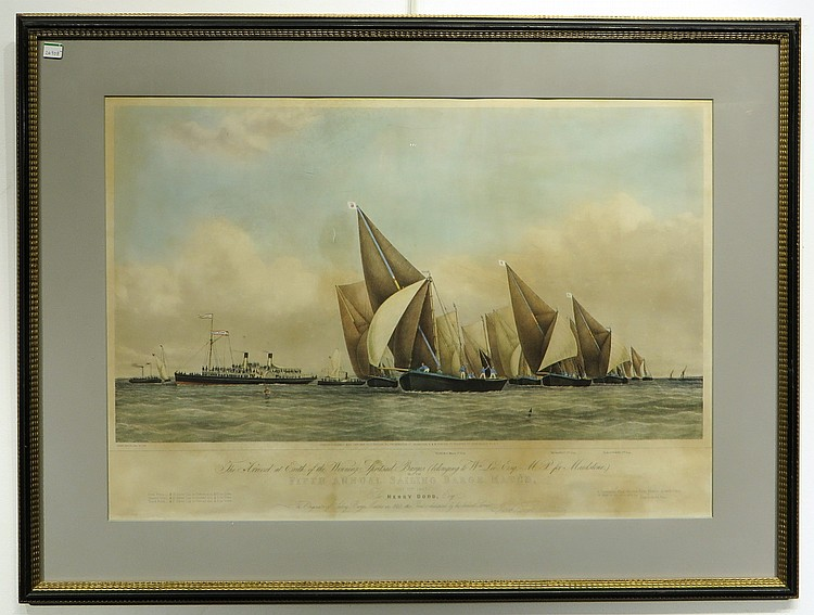 PRINT: 'THE 5TH ANNUAL SAILING BARGE MATCH' 1867