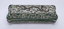 GREEN AND WHITE PORCELAIN BOX WITH DRAGON
