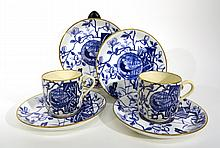 BLUE & WHITE TEACUPS & SAUCERS